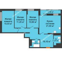 3 комнатная квартира 85,67 м², ЖК Каскад на Менделеева - планировка