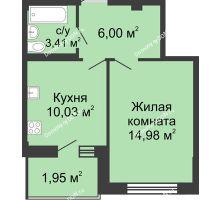 1 комнатная квартира 36,7 м² в ЖК Соловьиная роща, дом № 2 - планировка