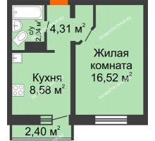 1 комнатная квартира 32,35 м² в ЖК Корабли, дом № 9-2 - планировка