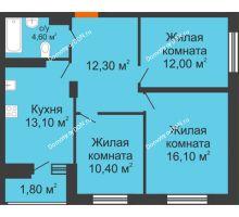 3 комнатная квартира 70,3 м² в ЖК Вересаево, дом Литер 13/1 - планировка