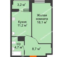 1 комнатная квартира 44,3 м² в ЖК Квартет, дом № 3 - планировка
