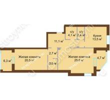 2 комнатная квартира 85,2 м², Жилой дом: ул. Почаинская д. 33 - планировка