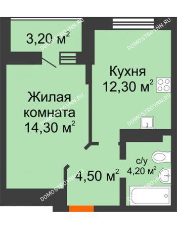 1 комнатная квартира 36,9 м² в ЖК Подкова на Цветочной, дом № 7