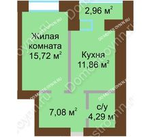 1 комнатная квартира 40,43 м² в ЖК Солнечный город, дом на участке № 214