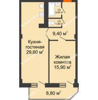 2 комнатная квартира 63,8 м², ЖК Sacco & Vanzetty, 82 (Сакко и Ванцетти, 82) - планировка