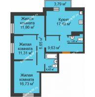 3 комнатная квартира 80,17 м² в ЖК Романтики, дом Париж - планировка