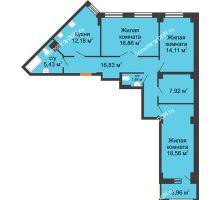 3 комнатная квартира 95,71 м² в ЖК Кристалл, дом Литер 1 - планировка