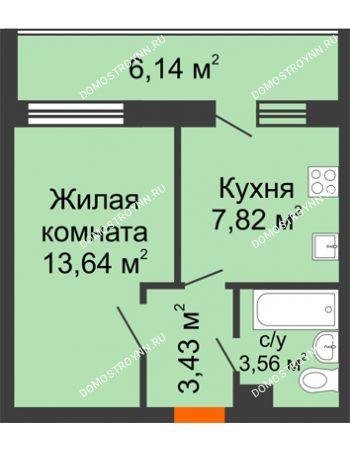 1 комнатная квартира 34,66 м² в ЖК Добрый, дом № 1
