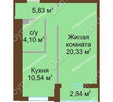 1 комнатная квартира 42,22 м² в ЖК Солнечный, дом № 4 - планировка