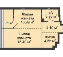 2 комнатная квартира 42,75 м², ЖК Белый Ангел - планировка