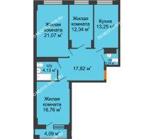 3 комнатная квартира 94,4 м², ЖД Весна - планировка