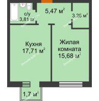 1 комнатная квартира 46,44 м² в ЖК Новоостровский, дом № 2 корпус 1 - планировка