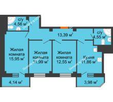 3 комнатная квартира 82,97 м² в ЖК Горизонт, дом № 2 - планировка