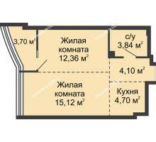 2 комнатная квартира 43,86 м², ЖК Белый Ангел - планировка