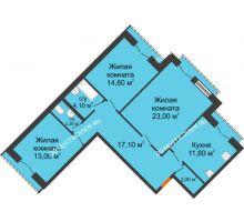 3 комнатная квартира 87,8 м², Жилой дом: г. Дзержинск, ул. Кирова, д.12 - планировка