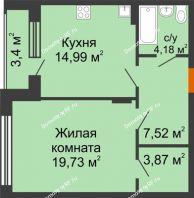 1 комнатная квартира 51,99 м² в ЖК Суворов-Сити, дом 2 очередь секция 1-5 - планировка