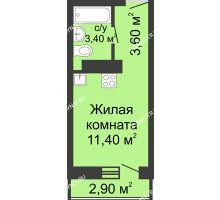 Студия 18,4 м² в ЖК Корабли, дом № 11 - планировка