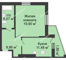 1 комнатная квартира 53,11 м² в ЖК Тихий Дон, дом № 3 - планировка