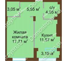 1 комнатная квартира 41,93 м² в ЖК Сердце Нижнего, дом № 36 - планировка