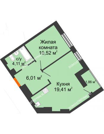 1 комнатная квартира 41,91 м² - ЖК Пушкин