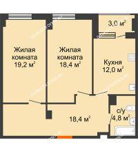2 комнатная квартира 74,3 м² в ЖК Квартет, дом № 3 - планировка