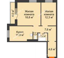 2 комнатная квартира 61 м² в ЖК на Калинина, дом № 2.1 - планировка
