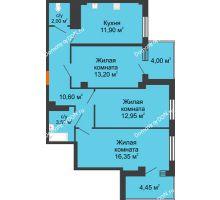 3 комнатная квартира 73,05 м² в ЖК Грин Парк, дом Литер 2 - планировка