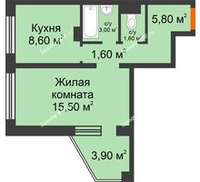 1 комнатная квартира 38,1 м², ЖК Приоритет - планировка