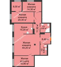 4 комнатная квартира 147,4 м², ЖК Богатяновский - планировка
