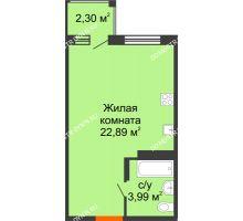 Студия 27,6 м² в ЖК Академический, дом № 11 - планировка