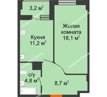 1 комнатная квартира 44,4 м² в ЖК Квартет, дом № 3 - планировка