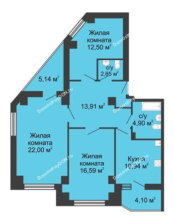 3 комнатная квартира 88,11 м² в ЖК Мега, дом № 1