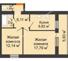 2 комнатная квартира 51,89 м², ЖК Дом у озера - планировка
