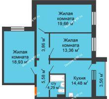 3 комнатная квартира 80,09 м² в ЖК Изумрудный, дом 14 этап - планировка