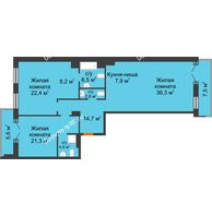 3 комнатная квартира 137,6 м² в ЖК Гранд Империалъ, дом №2 - планировка