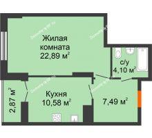 1 комнатная квартира 47,93 м² в ЖК Рассвет, дом № 6 - планировка