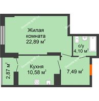 1 комнатная квартира 47,93 м² в ЖК Рассвет, дом № 7 - планировка