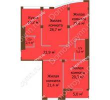 4 комнатная квартира 141,1 м², ЖК Бояр Палас - планировка