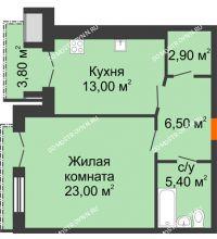 1 комнатная квартира 52,7 м², Жилой дом: г. Дзержинск, ул. Кирова, д.12 - планировка