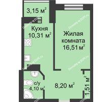 1 комнатная квартира 43,78 м², ЖК Петровская Крепость - планировка