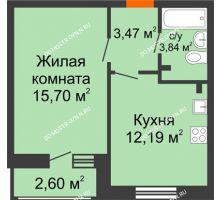 1 комнатная квартира 37,8 м² в ЖК Книги, дом № 2 - планировка