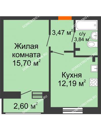 1 комнатная квартира 37,8 м² в ЖК Книги, дом № 2