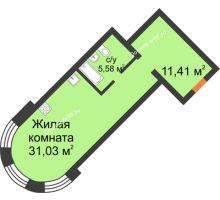 Студия 48,02 м², ЖК На Владимирской - планировка