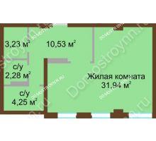 1 комнатная квартира 54 м² в ЖК Дом с террасами, дом № 1