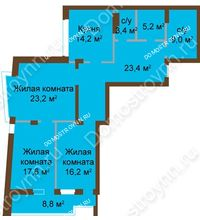 3 комнатная квартира 120,9 м², ЖК Классика - Модерн - планировка