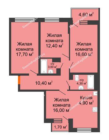 4 комнатная квартира 88,5 м² в ЖК Династия, дом Литер 2