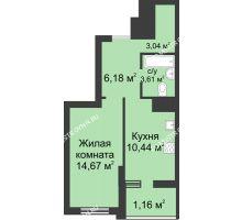 1 комнатная квартира 39,1 м² в ЖК Маленькая страна, дом № 3 - планировка