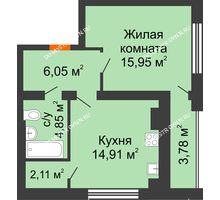 1 комнатная квартира 45,76 м², Клубный дом На Коммунистической - планировка