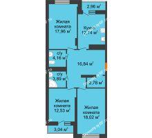 3 комнатная квартира 91,65 м², НЕБО на Ленинском, 215В - планировка