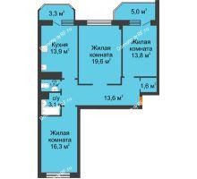 3 комнатная квартира 91,9 м² в ЖК Острова, дом 4 этап (второе пятно застройки) - планировка